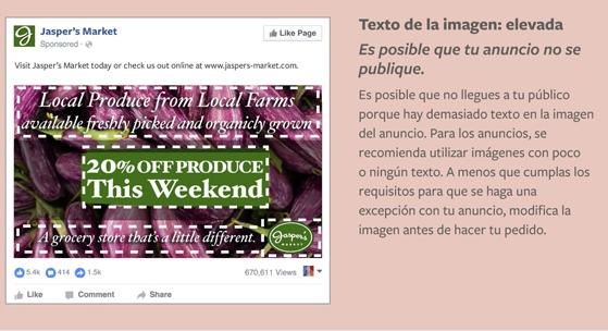 Facebook y la regla del 20% en imágenes