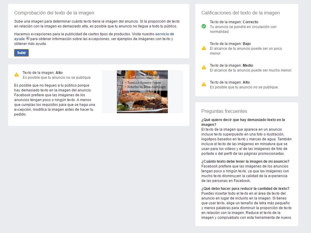 Herramienta de reconocimiento de texto - Facebook