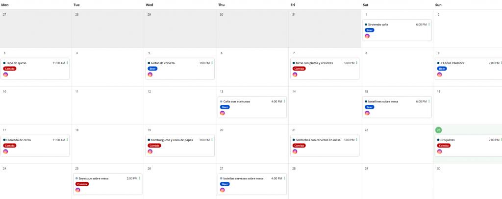 Calendario editorial en Loomly